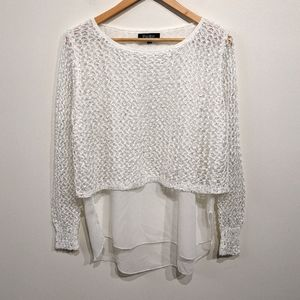 Papillon |White Open Knit Layered Top